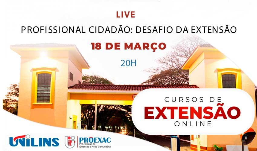 Profissional Cidadão será tema de live da Proexac - UNILINS
