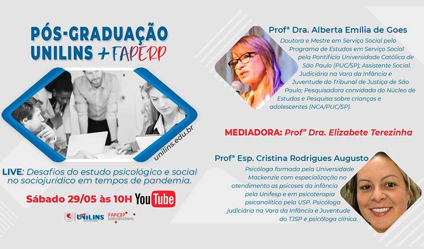 Unilins e FAPERP farão live de lançamento da parceria para cursos na área social - UNILINS