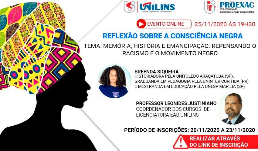 PROEXAC realizará evento online sobre Consciência Negra - UNILINS